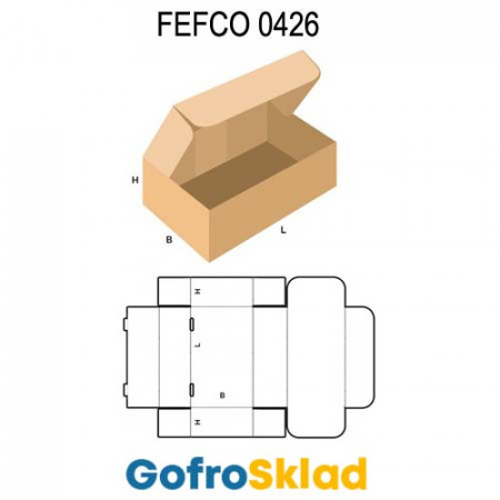 Короб FEFCO 0426 оберточного типа с откидной крышкой и «ушками»