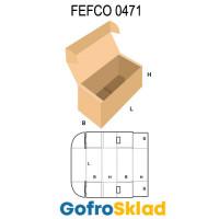 Короб FEFCO 0471 с откидной крышкой с ушками и замками на дне